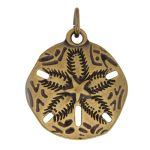 Base Metal Antique Brass Plated Sand Dollar Charm